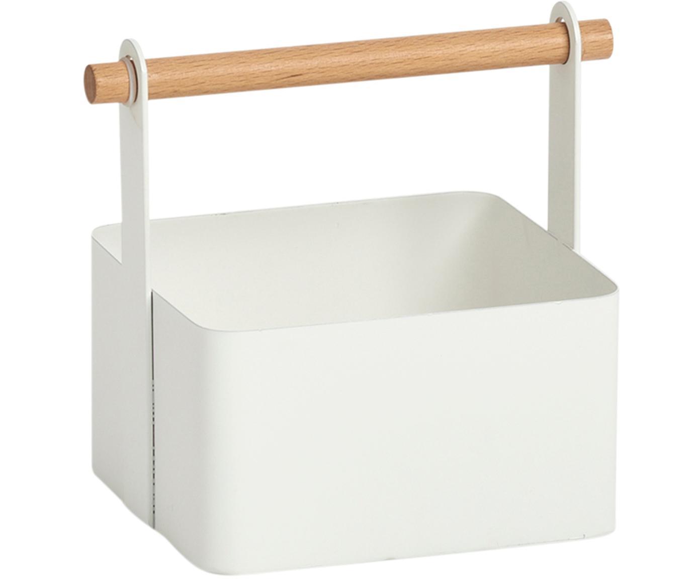 Contenitore Ledino, Metallo, legno di faggio, Bianco, legno di faggio, Larg. 15 x Alt. 16 cm
