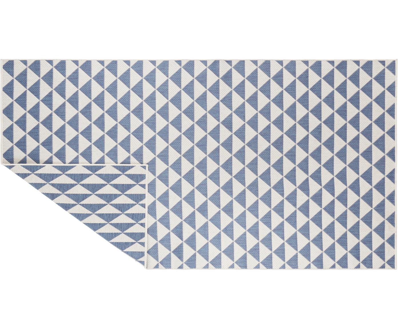 In- & outdoor vloerkleed Tahiti, Polypropyleen, Blauw, crèmekleurig, B 80 x L 150 cm (maat XS)