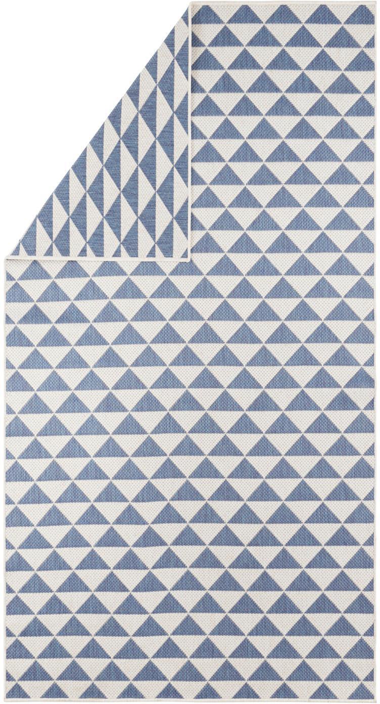 Gemusterter In- & Outdoor-Teppich Tahiti in Blau/Creme, 100% Polypropylen, Blau, Cremefarben, B 80 x L 150 cm (Größe XS)