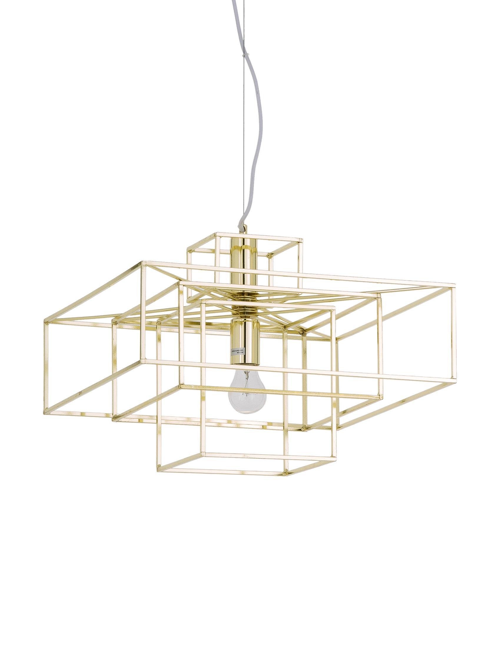 Pendelleuchte Cube in Gold, Metall, vermessingt, Messing, 46 x 50 cm