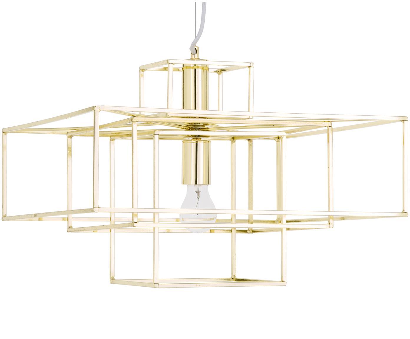 Lampada a sospensione Cube, Metallo ottonato, Ottone, Larg. 46 x Alt. 50 cm