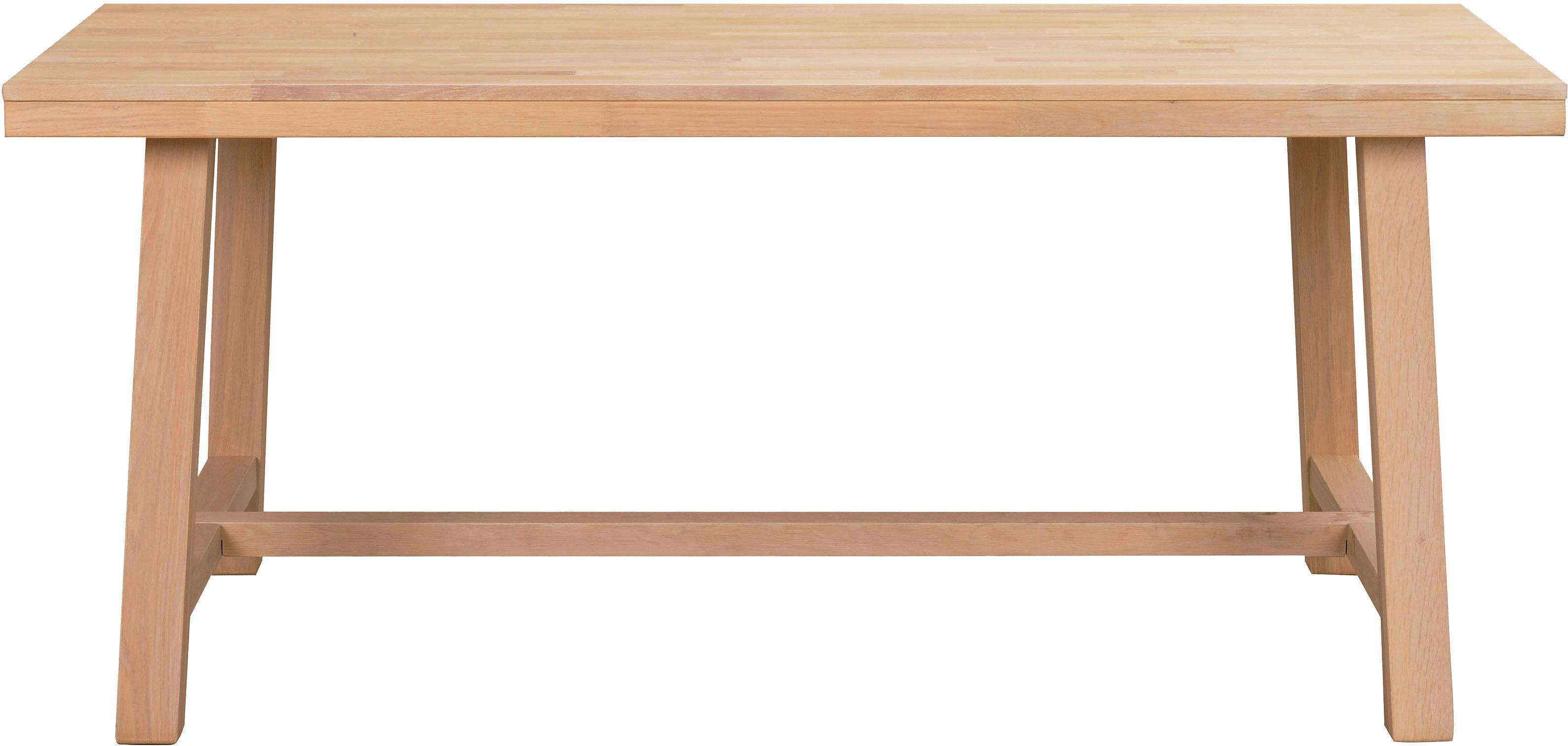 Verlengbare massief houten eettafel Brooklyn van eikenhout, Massief geborsteld en gelakt eikenhout, Eikenhoutkleurig, B 170-220 x D 95 cm