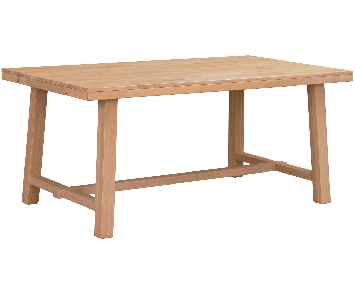 Mesa de comedor extensible de madera maciza Brooklyn, Madera de roble maciza cepillada y lacada clara, Roble, An 170-220 x F 95 cm