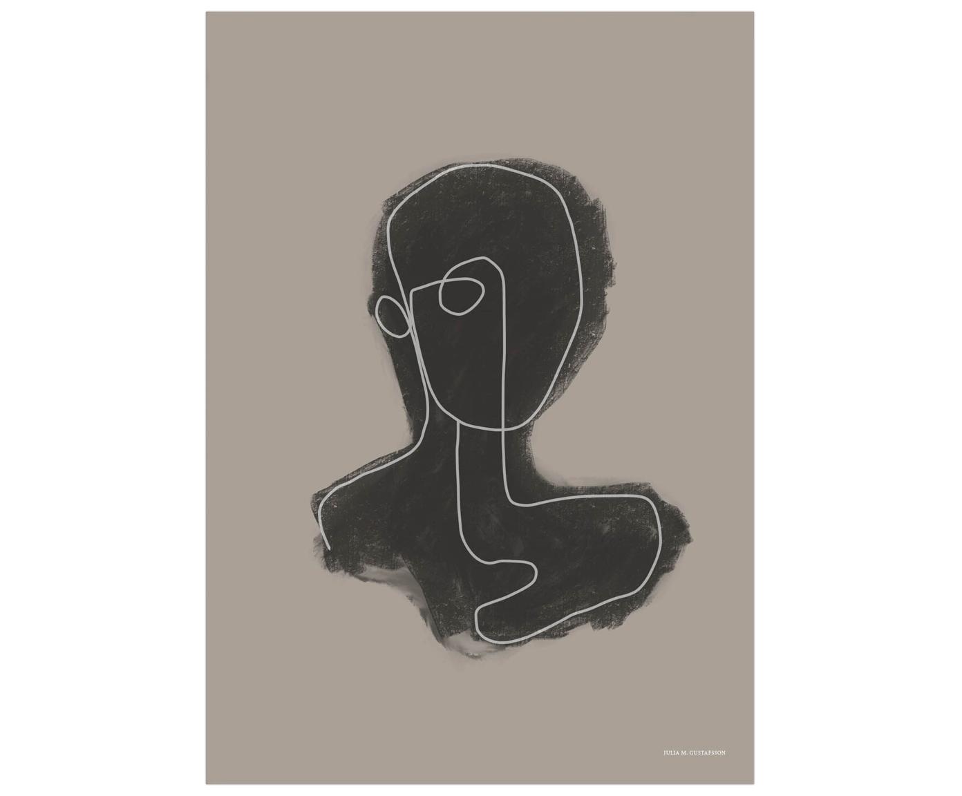 Plakat Head, Druk cyfrowy na papierze, matowy 180 g/m², Beżowy, czarny, biały, S 50 x W 70 cm