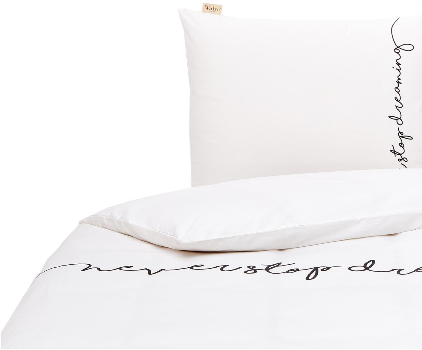 Dubbelzijdig renforcé dekbedovertrek Never Stop Dreaming, Weeftechniek: renforcé, Wit, zwart, 140 x 200 cm