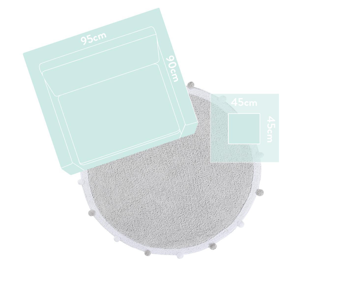 Runder Teppich Bubbly mit Pompoms, handgefertigt, Flor: 97% recycelte Baumwolle, , Hellgrau, Weiß, Ø 120 cm (Größe S)