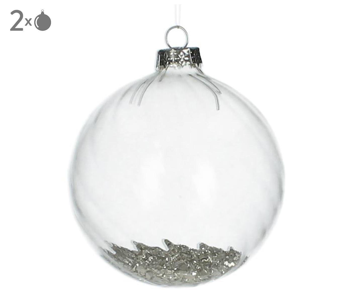 Kerstballen Rill, 2 stuks, Transparant, zilverkleurig, Ø 8 cm