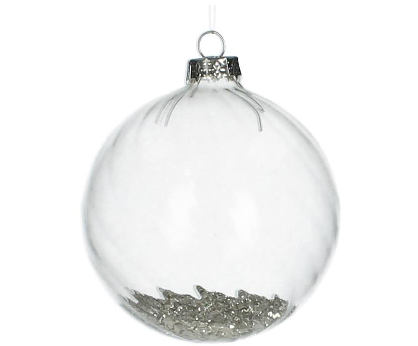 Weihnachtskugeln Rill, 2 Stück, Transparent, Silberfarben, Ø 8 cm