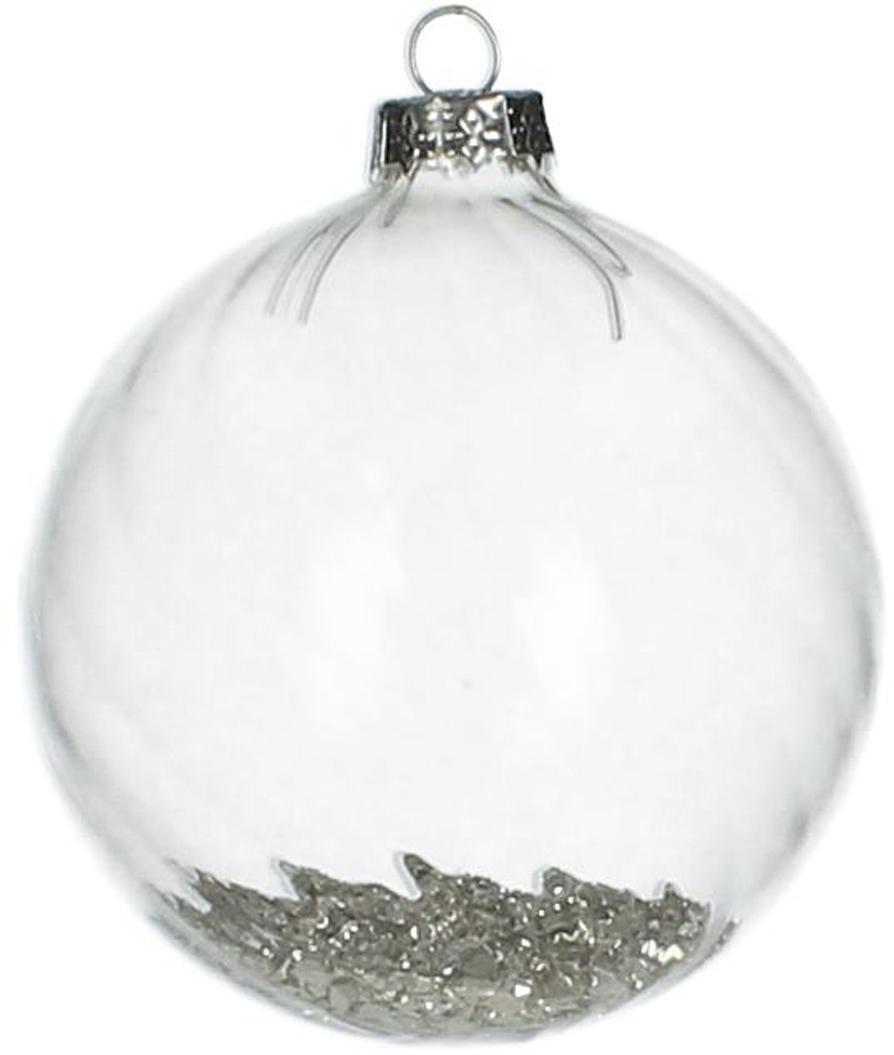 Bolas de Navidad Rill, 2uds., Transparente, plateado, Ø 8 cm