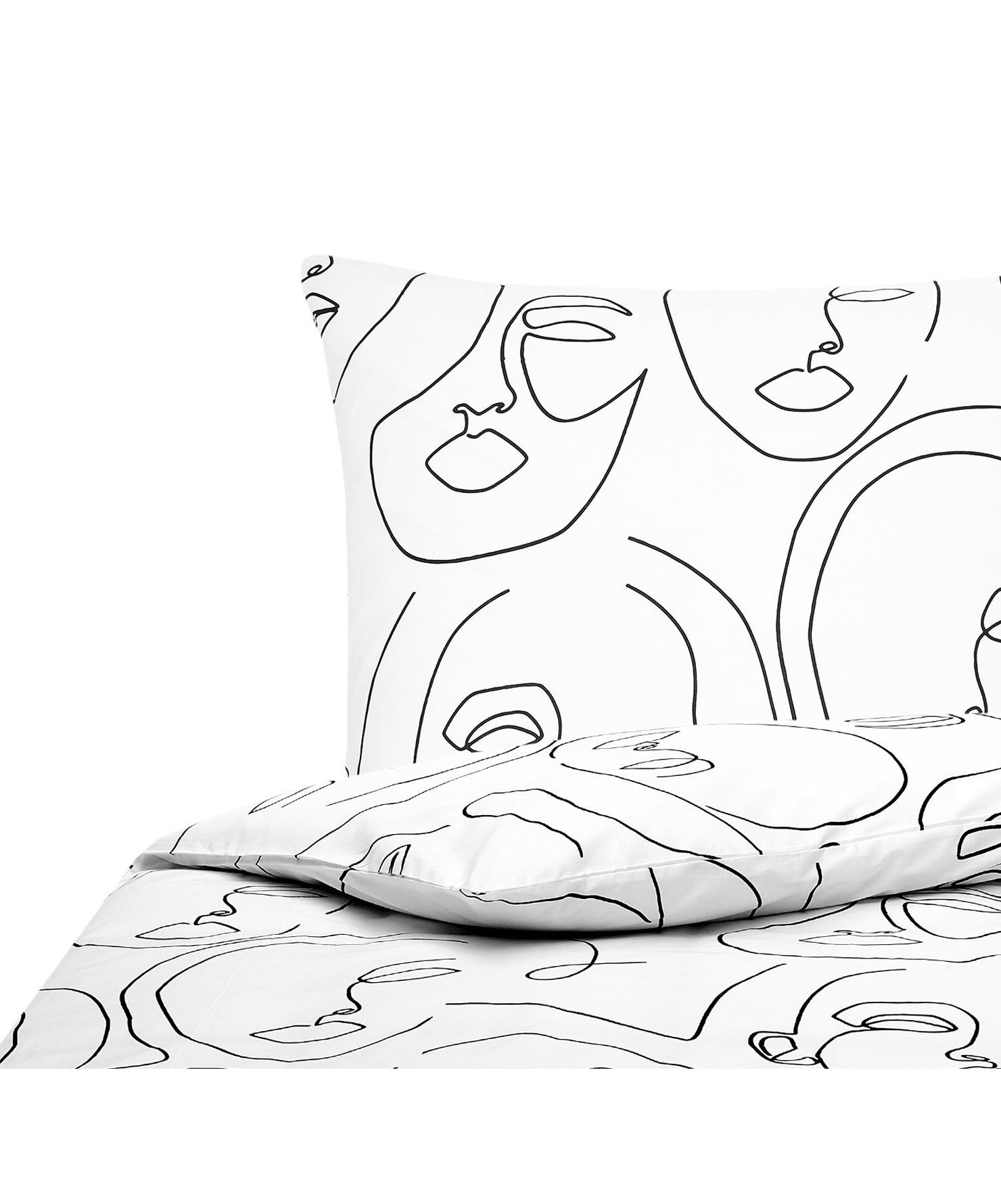Baumwollperkal-Bettwäsche Aria mit One Line Zeichnung, Webart: Perkal Fadendichte 180 TC, Weiß, Schwarz, 155 x 220 cm + 1 Kissen 80 x 80 cm
