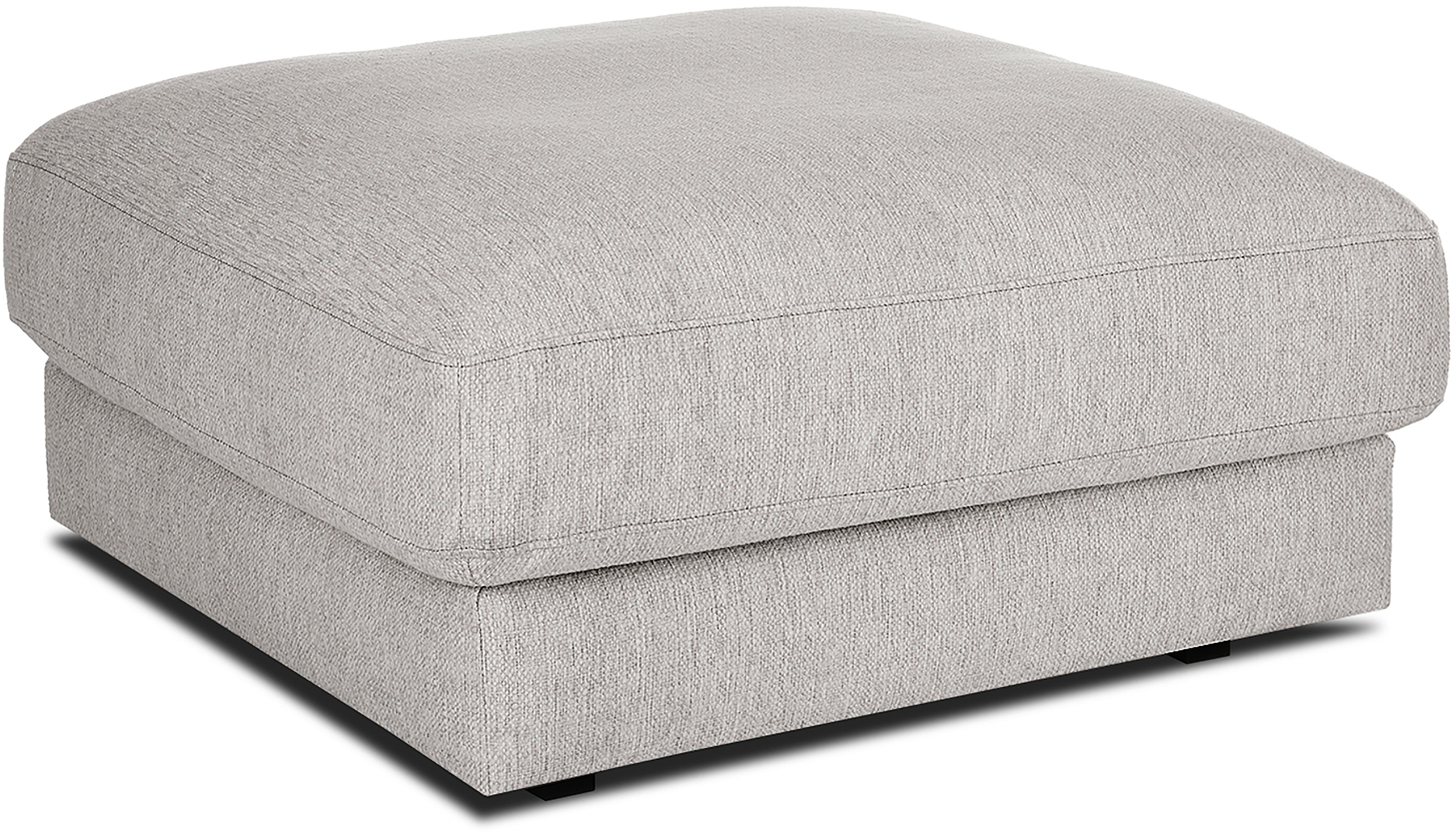 Sofa-Hocker Tribeca, Bezug: Polyester 25.000 Scheuert, Sitzfläche: Schaumpolster, Fasermater, Gestell: Massives Kiefernholz, Webstoff Beigegrau, 80 x 40 cm