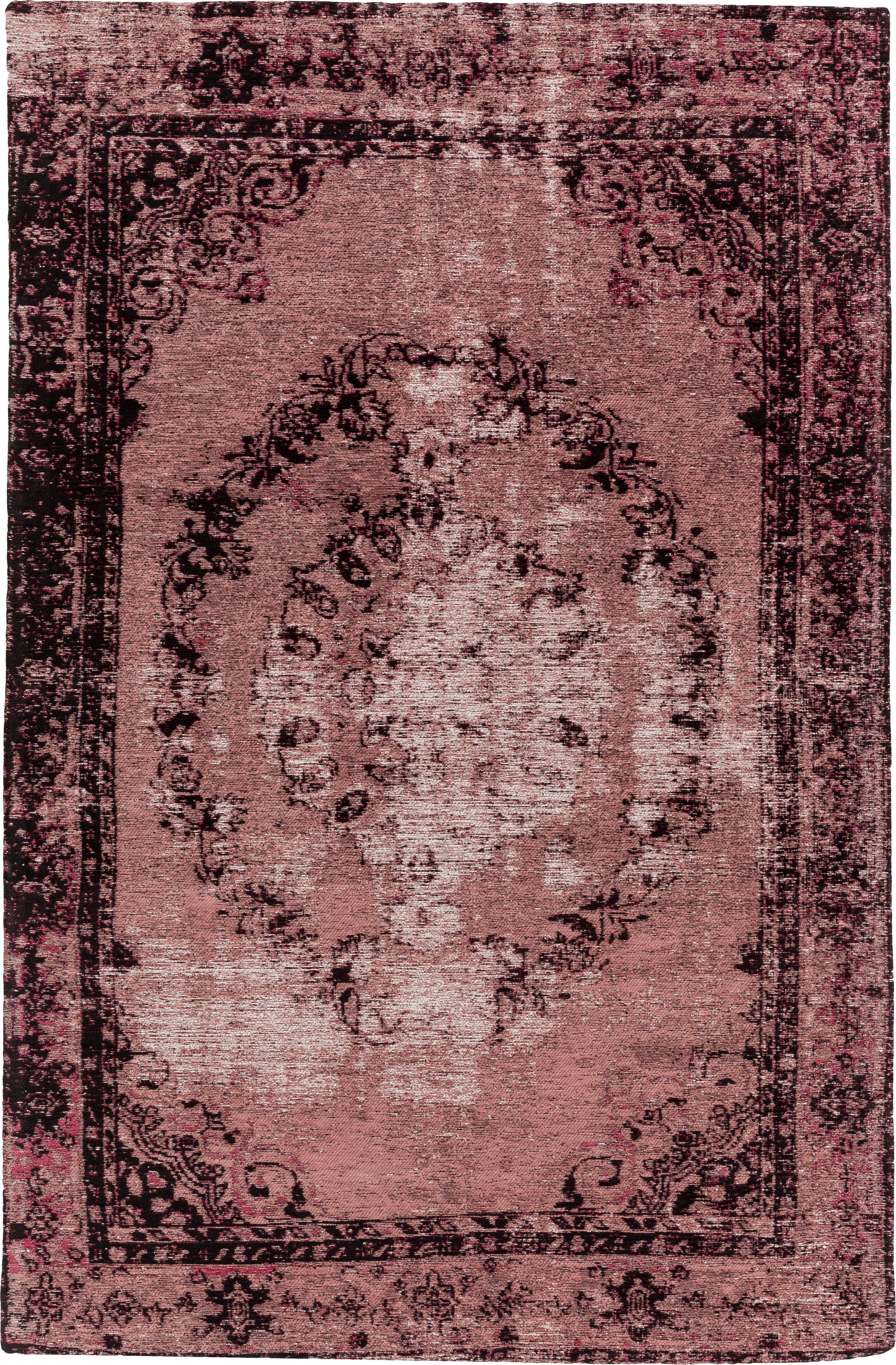 Vintage Chenilleteppich Milan in Rosa, handgewebt, Flor: 95% Baumwolle, 5% Polyest, Beerenfarben, Schwarz, Creme, B 120 x L 180 cm (Grösse S)