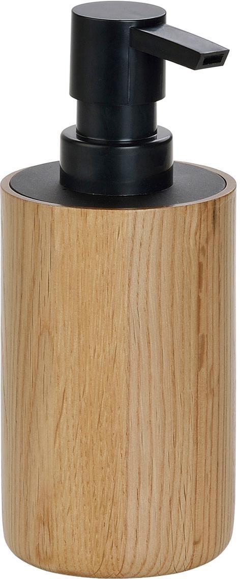 Dosatore per sapone Eir, Contenitore: legno di quercia, Testa della pompa: materiale sintetico, Legno di quercia, nero, Ø 7 x Alt. 17 cm