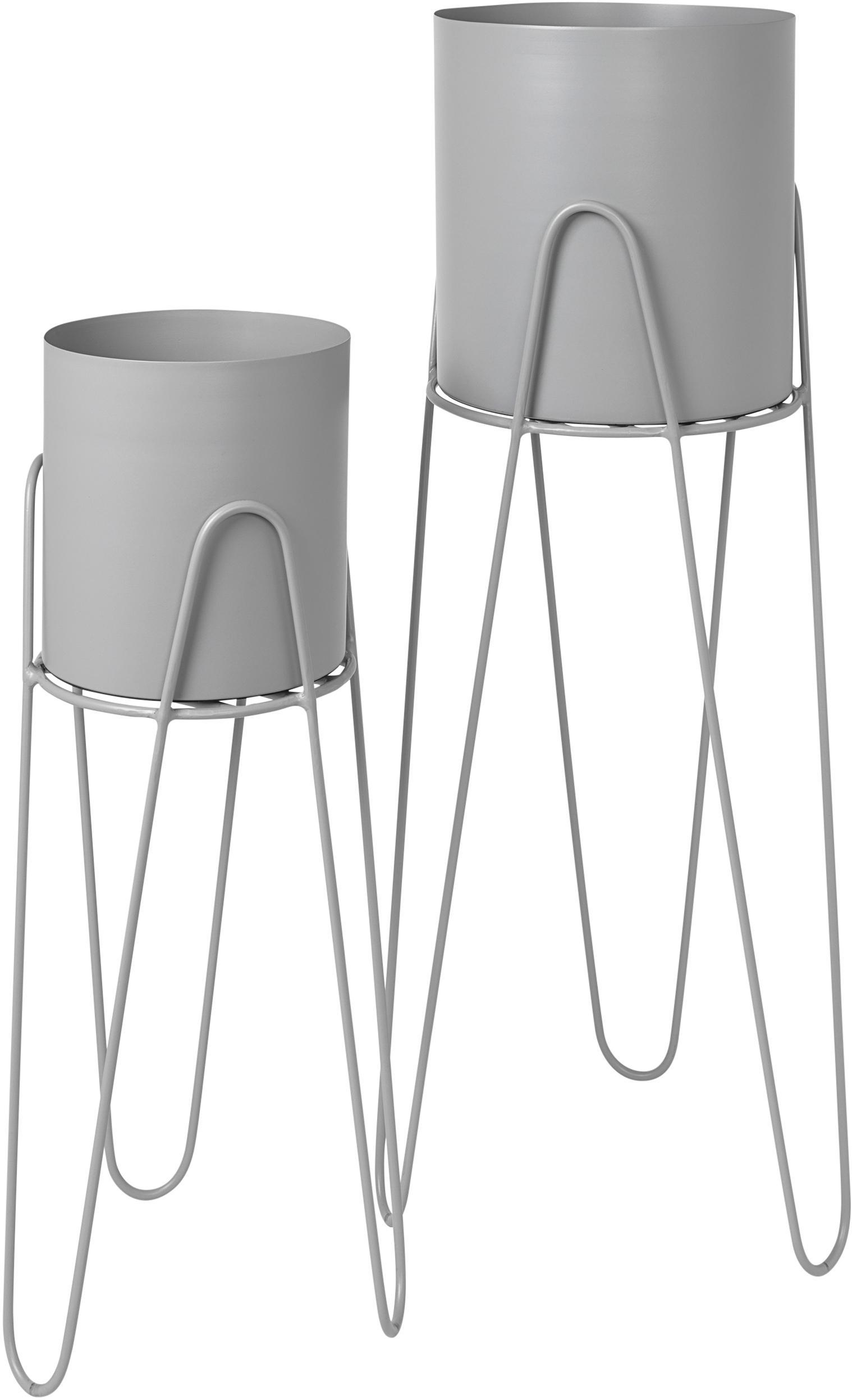 Übertopf-Set Lisa aus Metall, 2-tlg., Metall, Hellgrau, Set mit verschiedenen Grössen