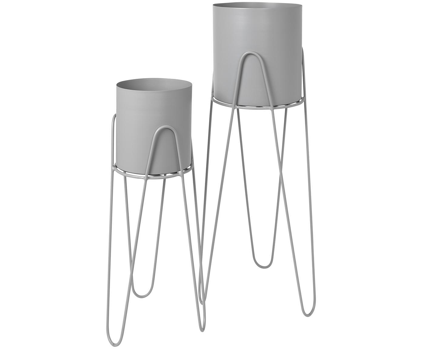 Übertöpfe-Set Lisa, 2-tlg., Metall, Hellgrau, Sondergrößen