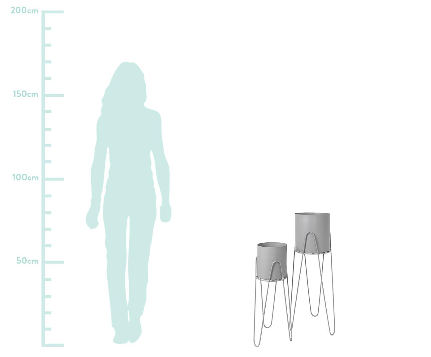 Komplet osłonek na doniczkę Lisa, 2 elem., Metal, Jasny szary, Różne rozmiary
