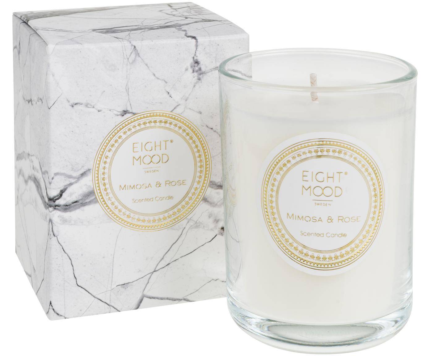 Duftkerze White Marble (Mimose & Rose), Behälter: Glas, Behälter: Transparent Wachs: Weiß, Ø 9 x H 12 cm
