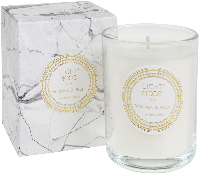 Świeca zapachowa White Marble (mimoza, róża), Pojemnik: transparentny Wosk: biały, Ø 9 x W 12 cm