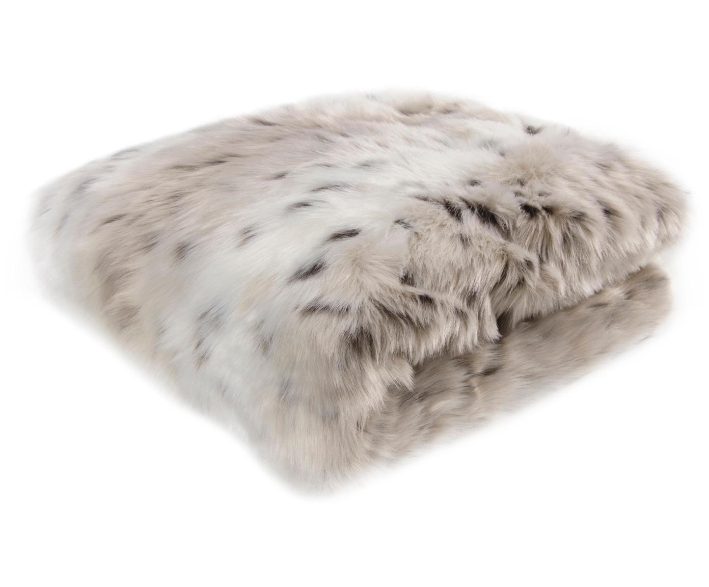 Plaid van kunstvacht Skins, Bovenzijde: 60% acryl, 40% polyester , Onderzijde: polyesterfluweel, Bovenzijde: wit, lichtbruin, bruin. Onderzijde: ivoorkleurig, 150 x 200 cm