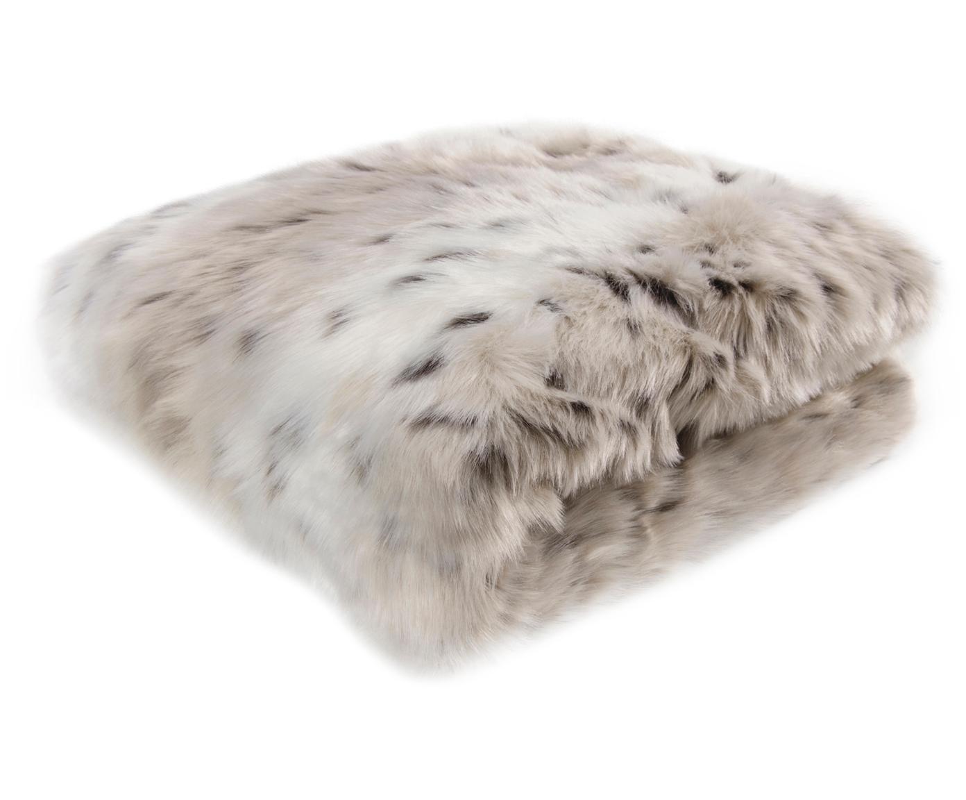 Pled ze sztucznego futra Skins, Przód:  biały, jasny brązowy, brązowy Tył: kość słoniowa, S 150 x D 200 cm