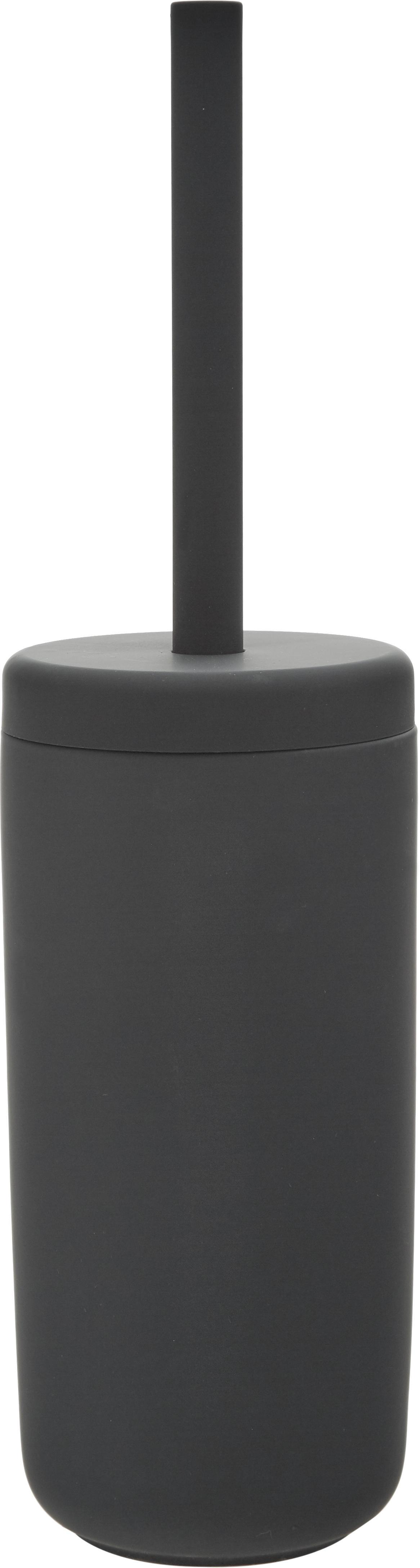 Szczotka toaletowa z pojemnikiem z kamionki Omega, Czarny, matowy, Ø 10 x W 39 cm