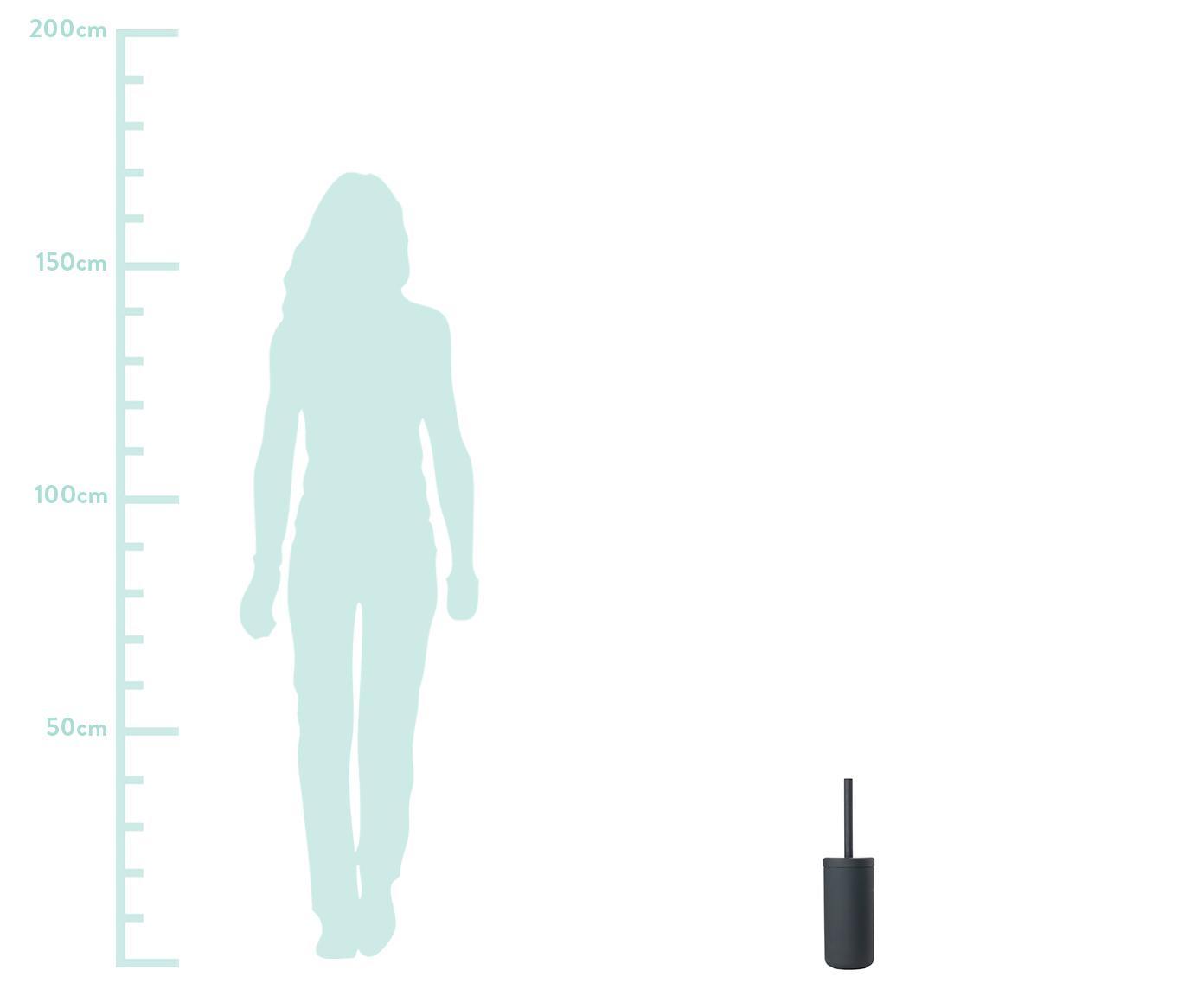WC-borstel Omega, Houder: keramiek overtrokken met , Mat zwart, Ø 10 x H 39 cm