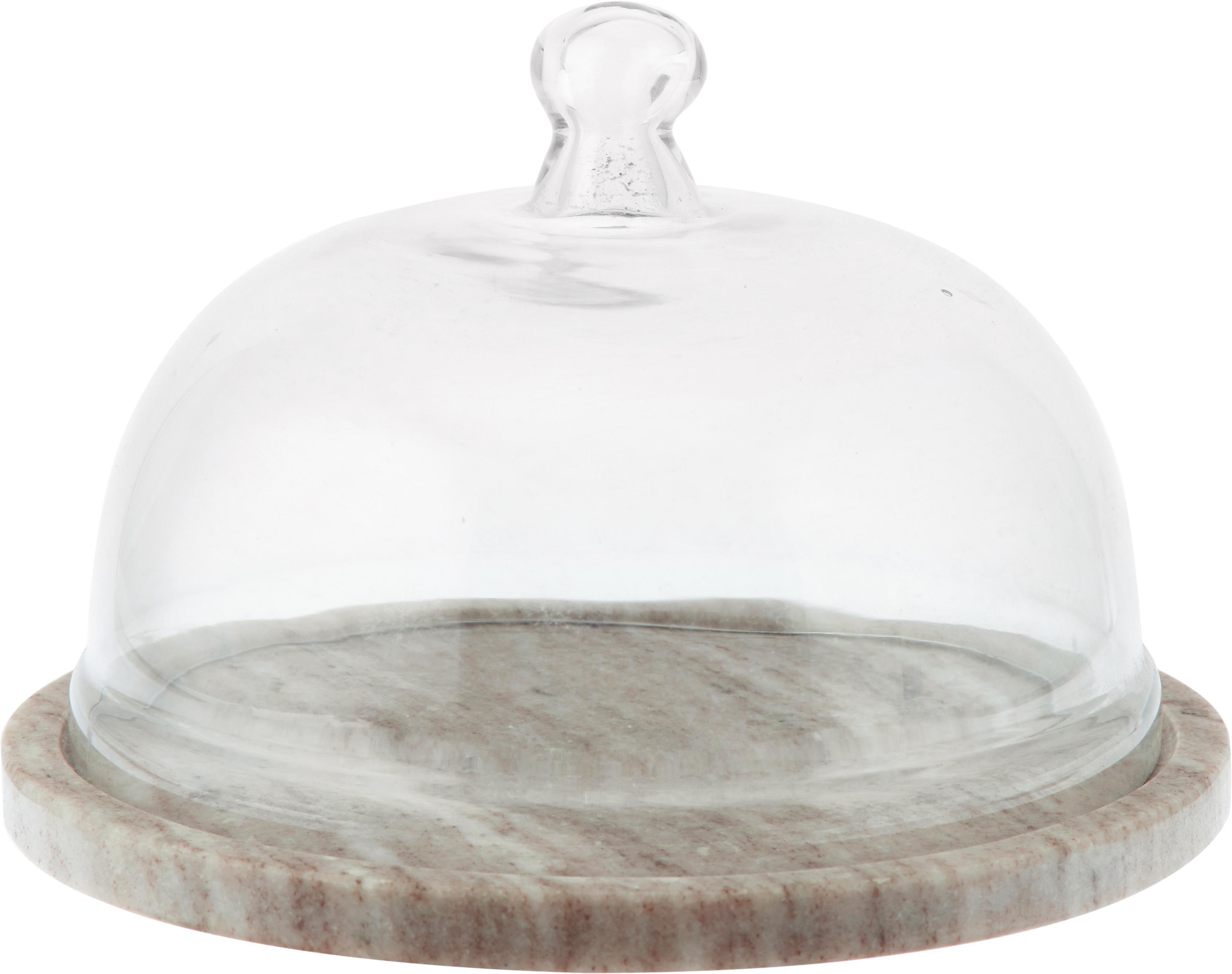 Klosz z marmuru Cheese, Blat: marmur, Beżowy, transparentny, Ø 25 x W 14 cm