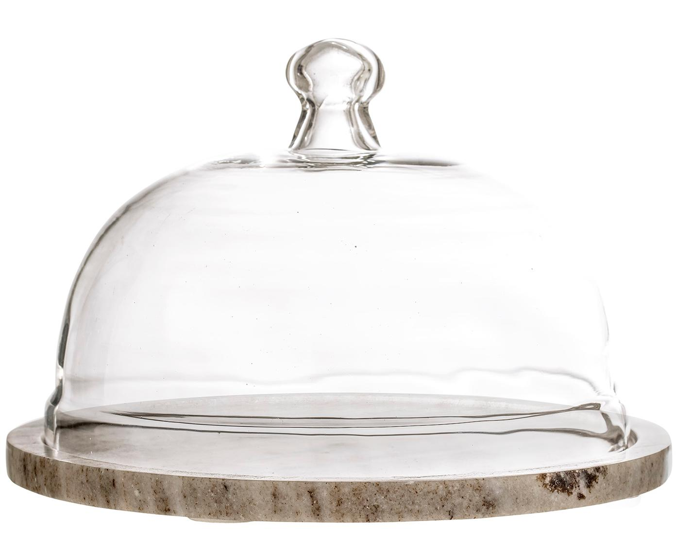 Cloche in marmo Cheese, Clache: vetro, Beige trasparente, Ø 25 x Alt. 14 cm