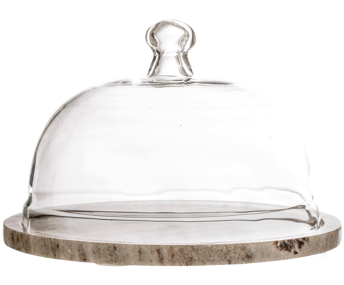 Marmeren kaasstolp Cheese, Stolp: glas, Plank: marmer, Beige, transparant, Ø 25 x H 14 cm