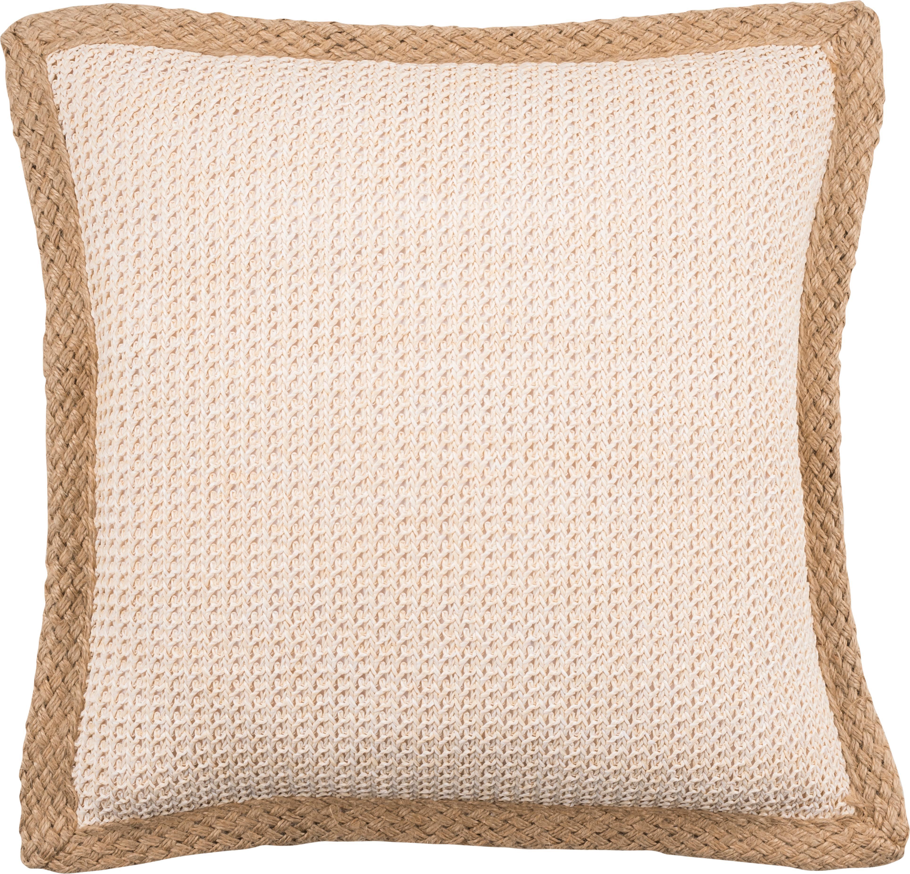 Funda de cojín con ribete de yute Tally, 50%yute, 50%algodón, Blanco, beige, An 45 x L 45 cm