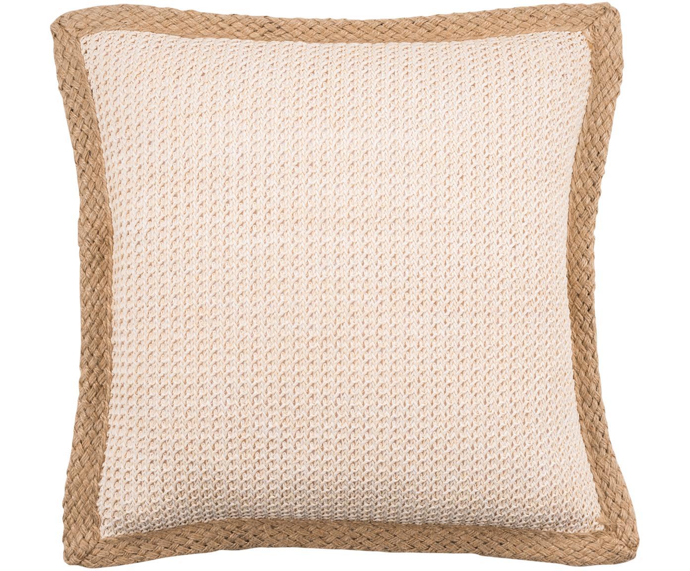 Kissenhülle Tally mit Jute-Keder, 50% Jute, 50% Baumwolle, Weiß, Beige, 45 x 45 cm