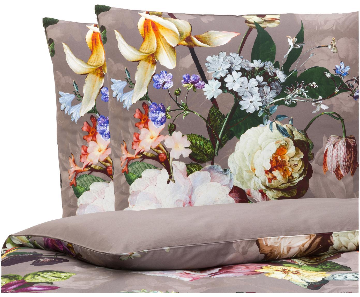 Katoenen dekbedovertrek Fleur, Taupe, 260 x 220 cm