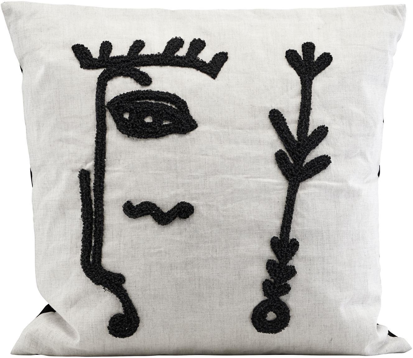 Kissenhülle Ingo mit abstrakter Stickerei, Vorderseite: Leinen, Baumwolle, Weiß, Schwarz, 50 x 50 cm