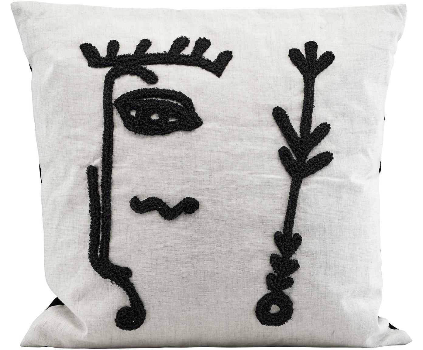 Kissenhülle Ingo mit abstrakter Stickerei, Vorderseite: Leinen, Baumwolle, Weiss, Schwarz, 50 x 50 cm