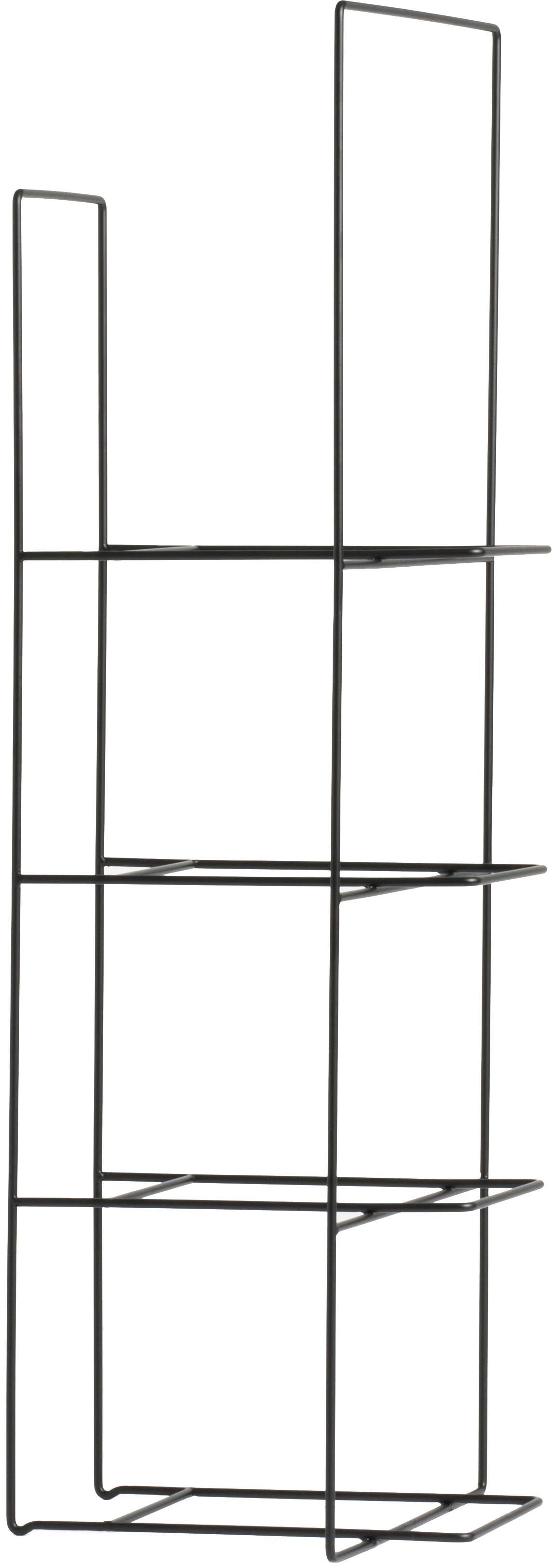 Libreria in metallo Rewire, Metallo verniciato a polvere, Nero, Larg. 29 x Alt. 80 cm