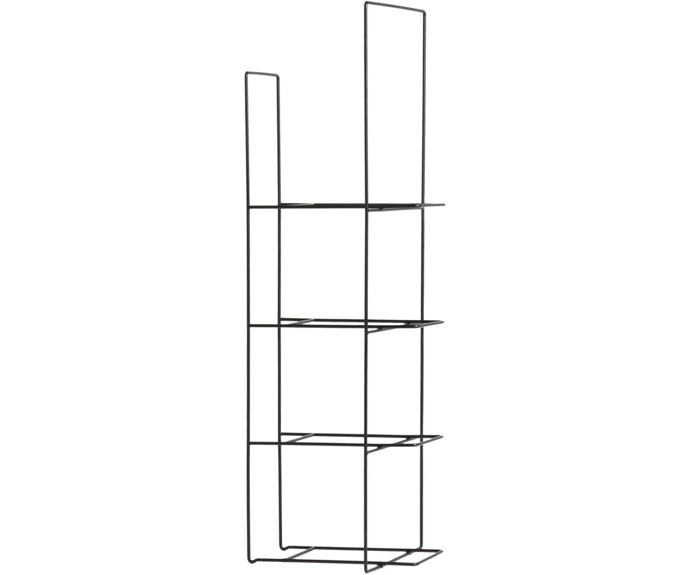 Boekenrek Rewire van metaal, Gepoedercoat metaal, Zwart, 29 x 80 cm