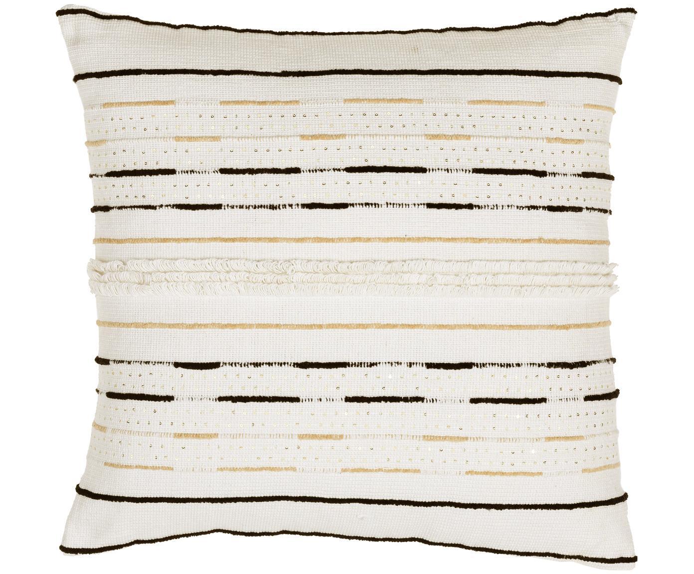 Cojín con lentejuelas Lena, con relleno, Funda: algodón Relleno poliéster, Blanco, negro, beige claro, An 60 x L 60 cm