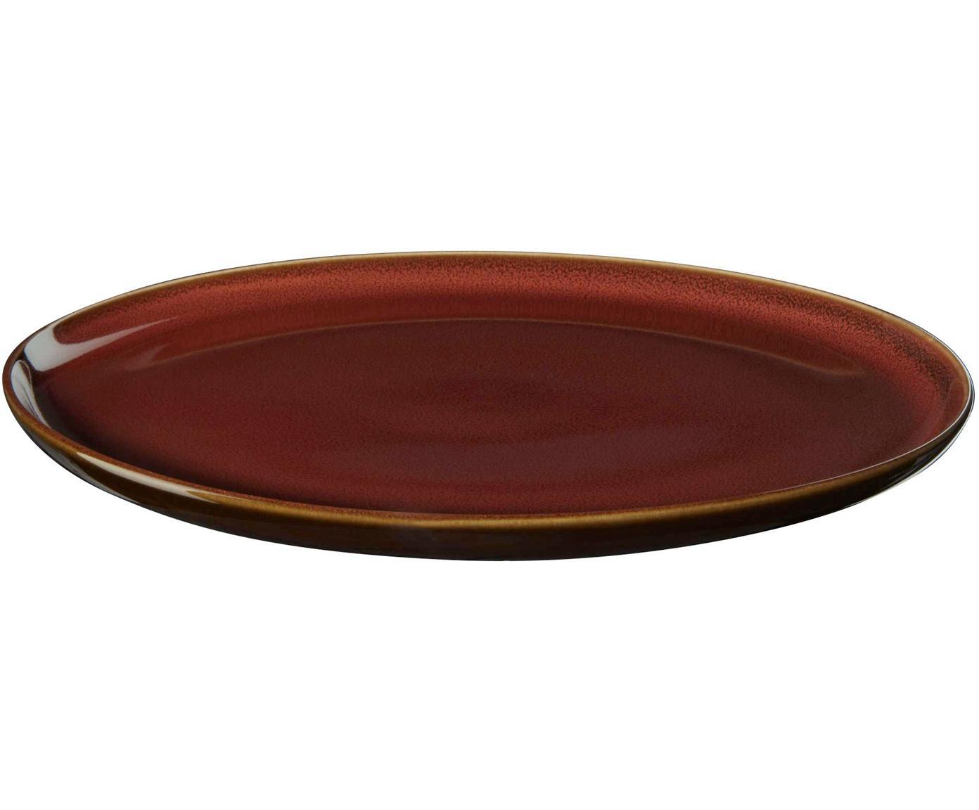 Speiseteller Kolibri in Rostrot, 6 Stück, Porzellan, Rostrot, Braun, Ø 27 cm
