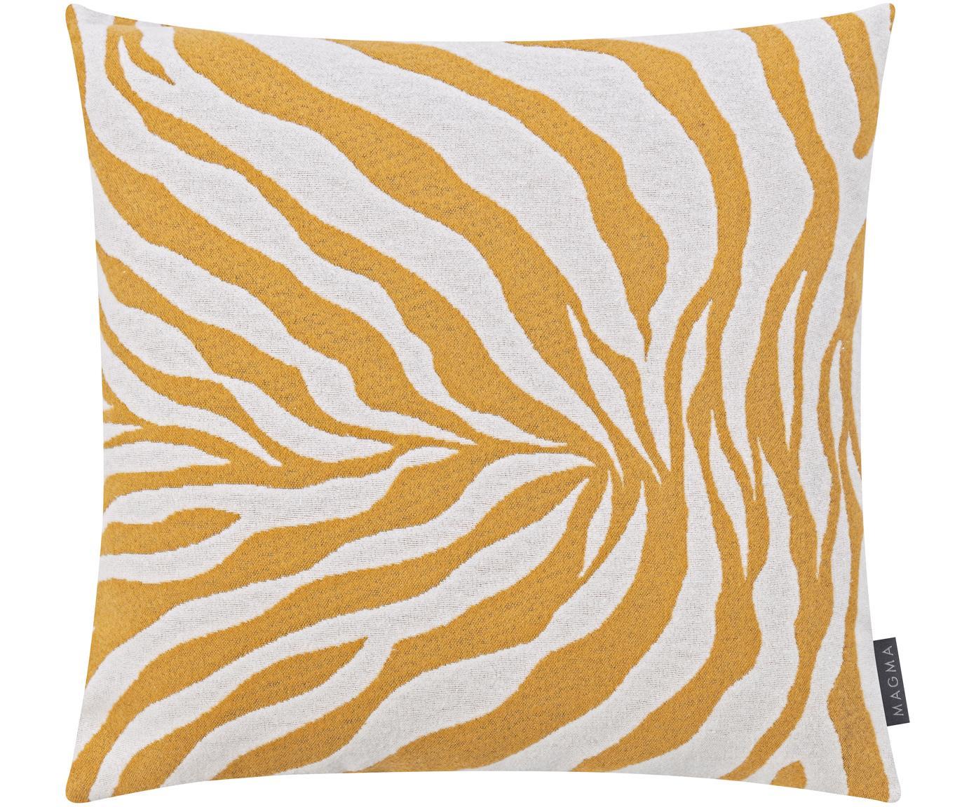 Kissenhülle Sana mit Zebra Print in Gelb/Weiß, Vorderseite: 59%Baumwolle, 41%Polyes, Webart: Jacquard, Senfgelb, Weiß, 50 x 50 cm