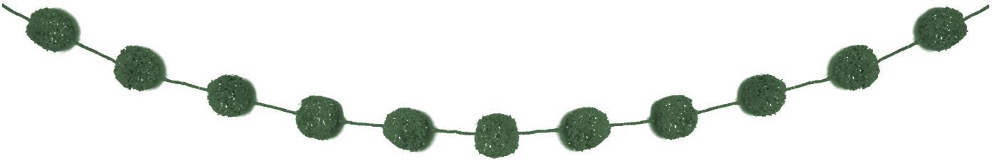 Slinger Pompon, Katoen met Lurex draden, Petrol, goudkleurig, L 450 cm