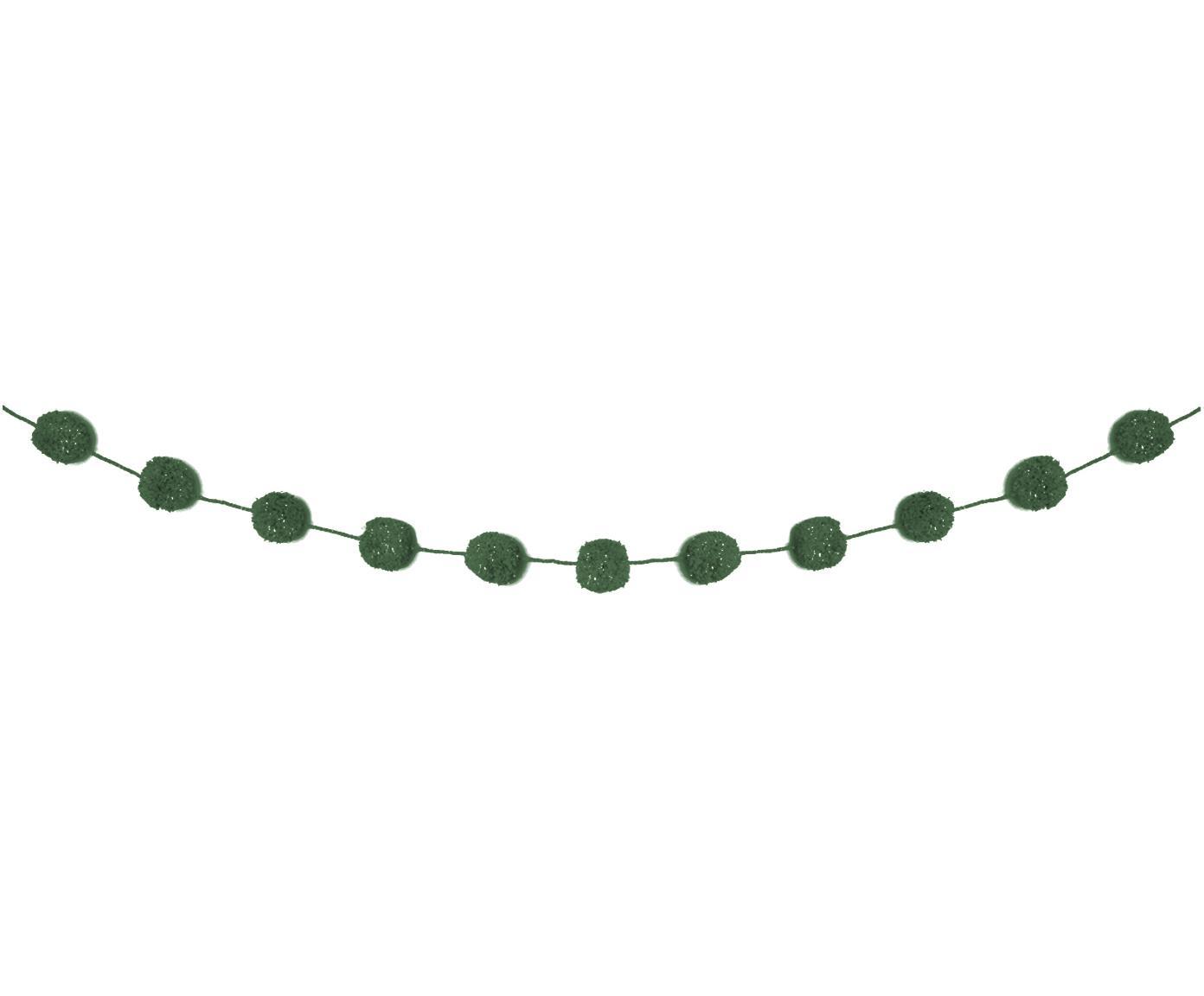 Girlande Pompon, Baumwolle mit Lurexfaden, Petrol, Goldfarben, L 450 cm