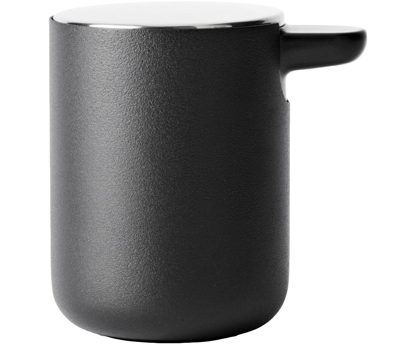 Dispenser sapone con coperchio in metallo Matty, Metallo, materiale sintetico, Nero, Ø 11 x Alt. 11 cm