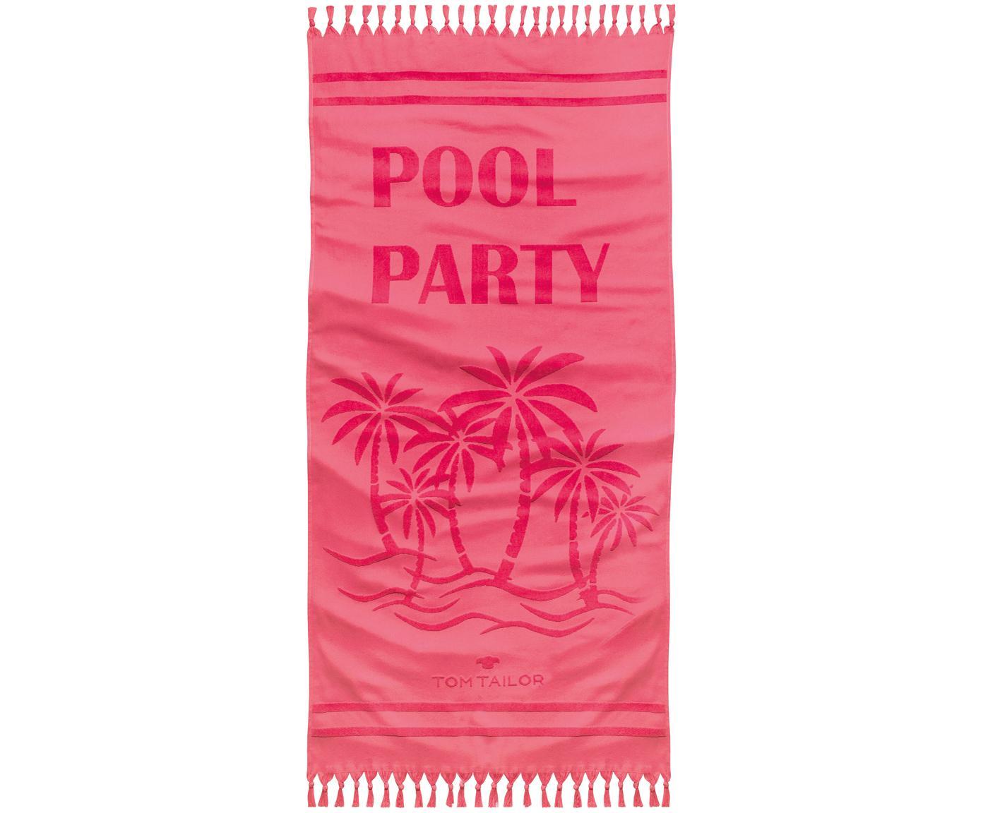 Telo mare in cotone Pool Party, Retro: spugna, Rosa, Larg. 90 x Lung. 180 cm