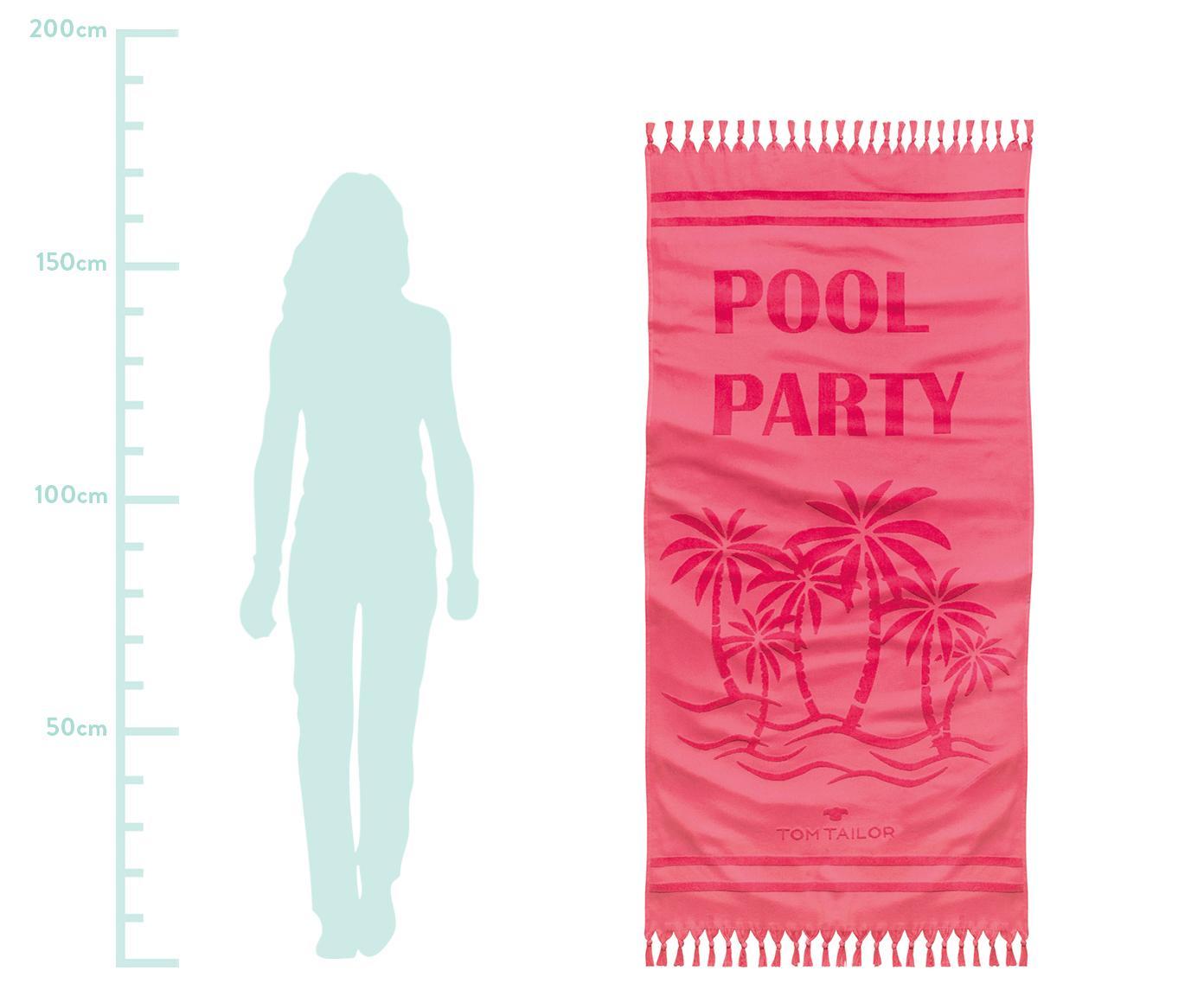 Fouta Pool Party, Różowy, S 90 x D 180 cm