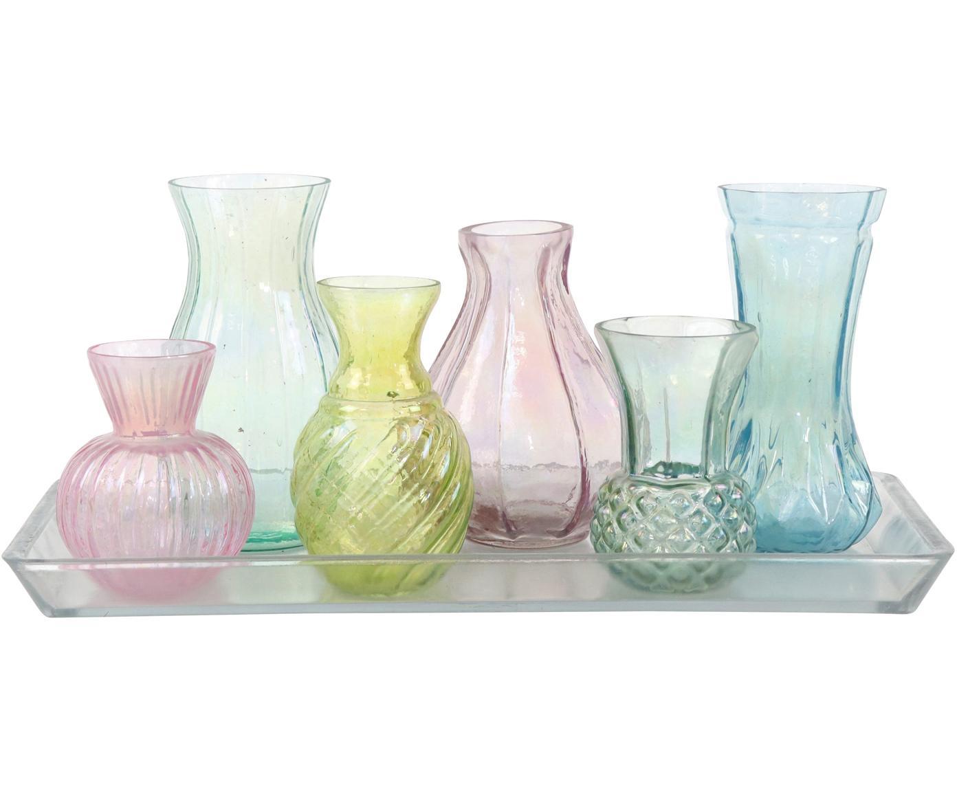 Glasvasen-Set Poesie, 7-tlg., Glas, Mehrfarbig, Sondergrößen