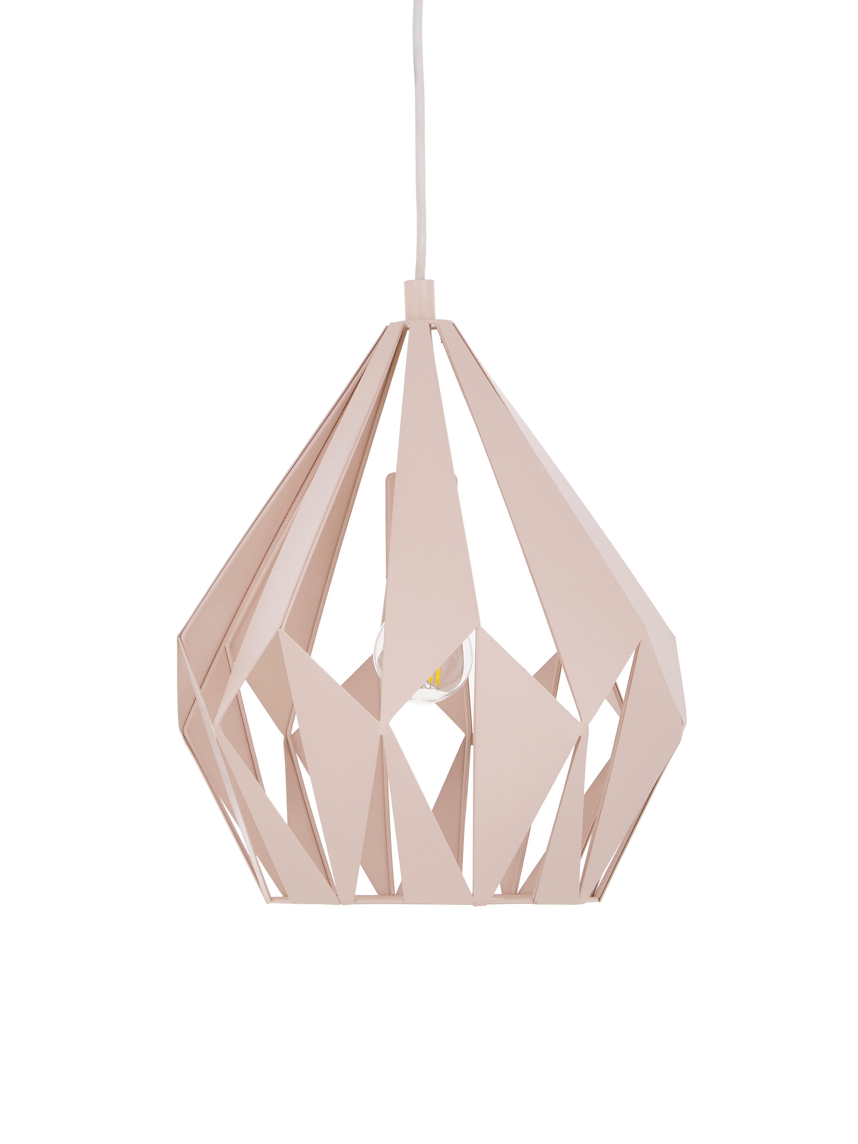 Lámpara de techo Carlton, estilo escandinavo, Cable: plástico, Color albaricoque, Ø 31 x Al 40 cm