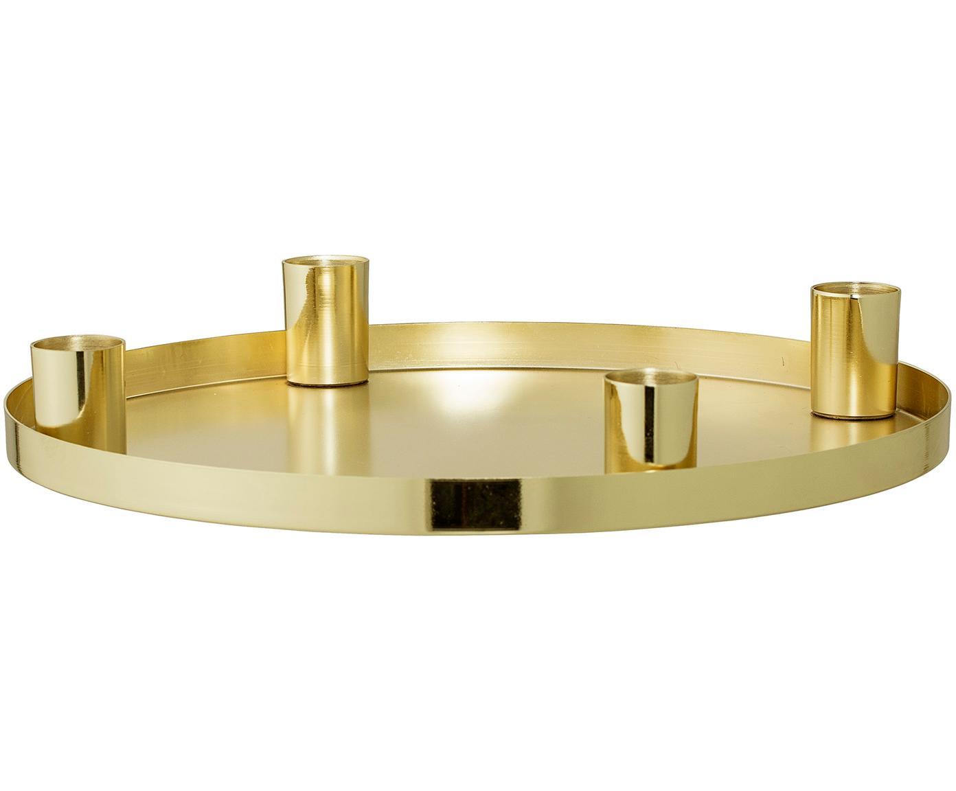Świecznik Advent, Metal powlekany, Złoty, Ø 25 x W 4 cm