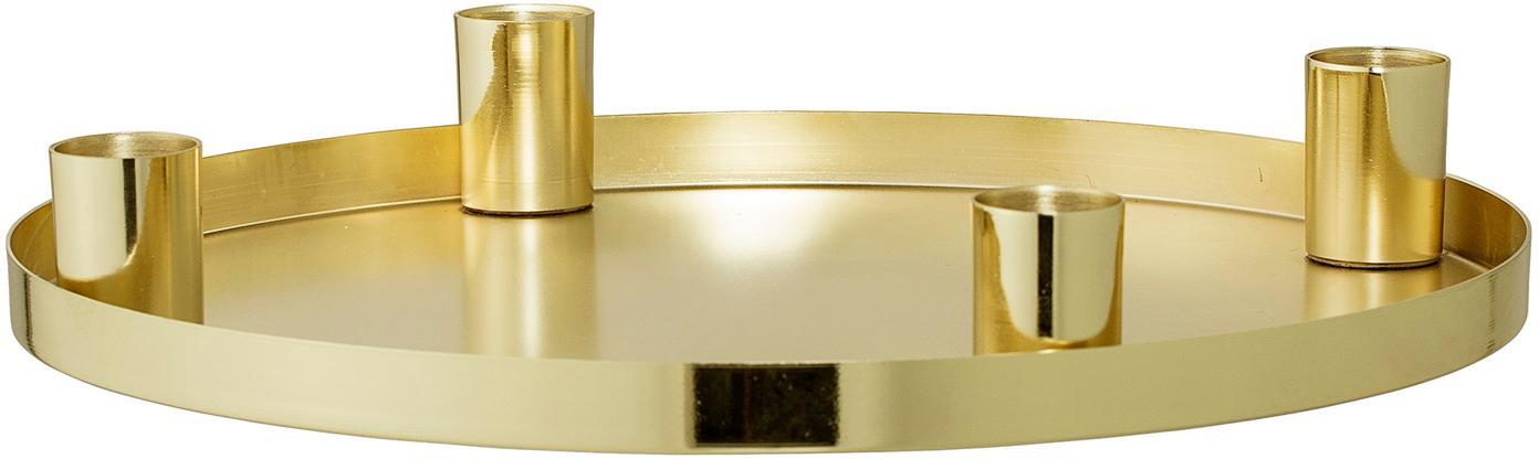 Candelabro Advent, Metal, recubierto, Dorado, Ø 25 x Al 4 cm