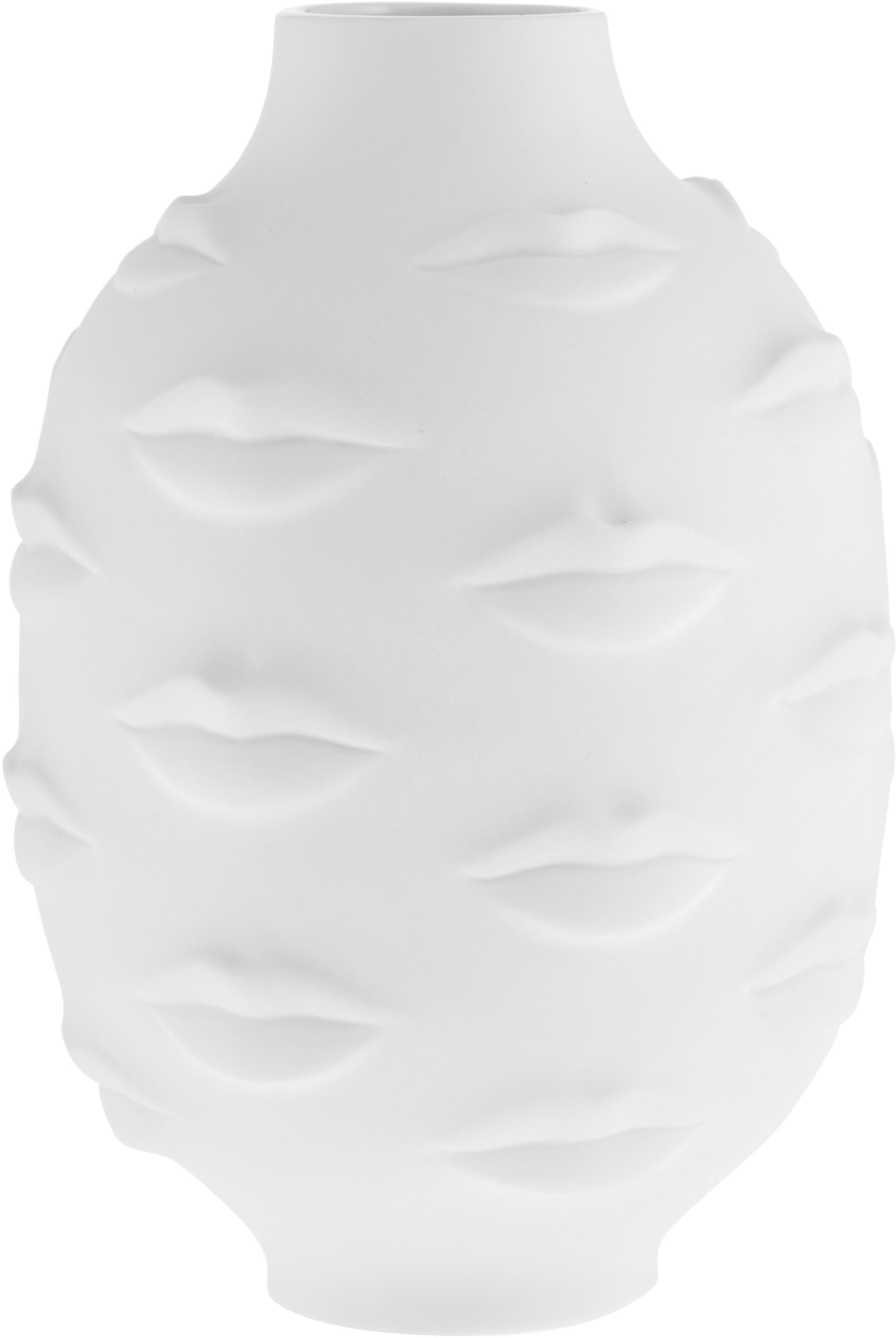 Jarrón de porcelana de diseño Gala, Porcelana, Blanco, Ø 15 x Al 25 cm