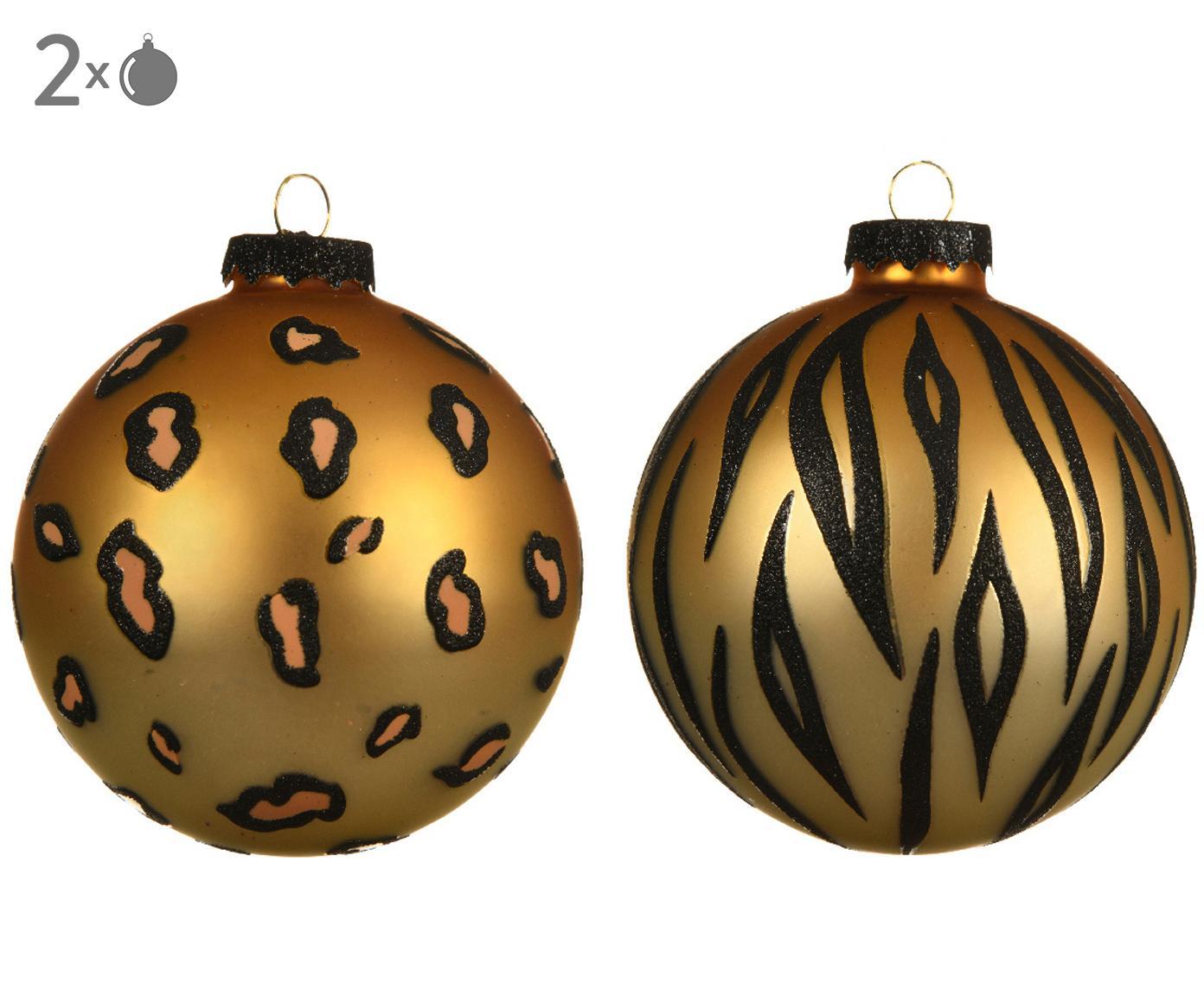 Kerstballenset Cats, 2-delig, Goudkleurig, zwart, Ø 8 cm